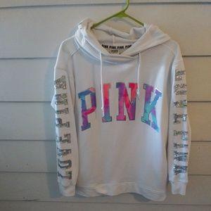 HTF PINK tie dye bling hoodie sweatshirt